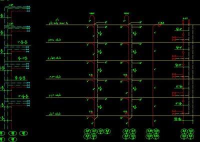 نقشه کامل تاسیسات مکانیکی مجتمع مسکونی 9 طبقه در اتوکد