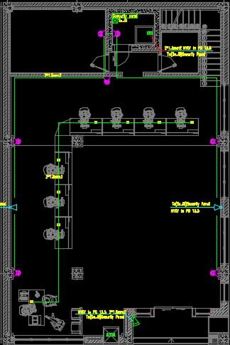 نقشه کامل تاسیسات برق ساختمان اداری با زیربنای 532 متر در اتوکد