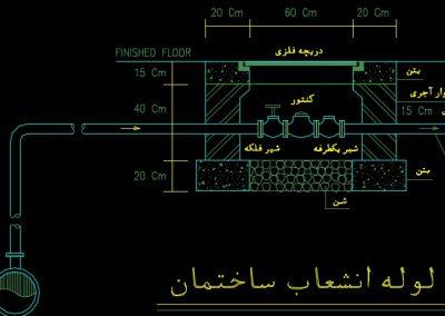 نقشه کامل تاسیسات مکانیکی آپارتمان مسکونی دو طبقه و 440 متری در اتوکد